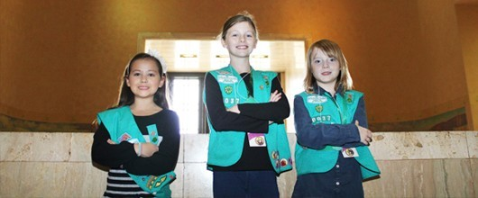 Girl Scouts from troop 10037. Left, Kohana, middle, Zoe, right, Katherine.